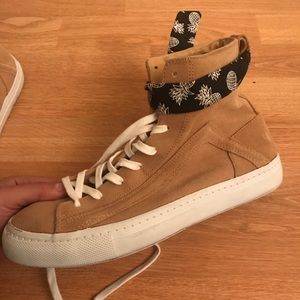 ZARA Tan Suede Sneakers with Pineapple Scarf